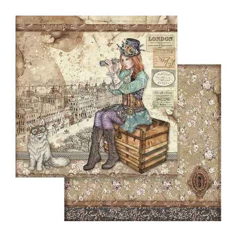 "Stamperia Double-Sided Cardstock 12""X12"" Lady Vagabond & Cat, Lady Vagabond"