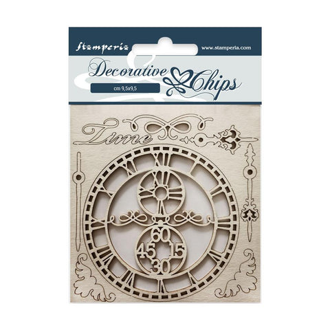 "Stamperia Decorative Chips 3.75""X3.75"" Time"