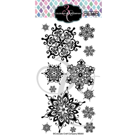 "Colorado Craft Company Clear Stamps 4""X8"" Nordic Snowflakes-Big & Bold"