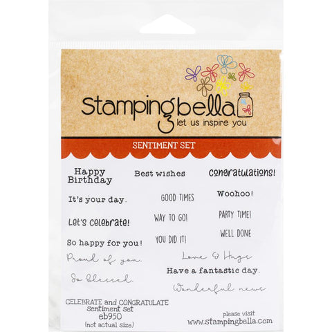 Stamping Bella Cling Stamps Celebrate & Congratulate Sentiment Set