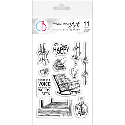 "Ciao Bella Stamping Art Clear Stamps 4""X6"" Find Your Happy Place"