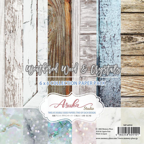 "Asuka Studio Double-Sided Paper Pack 6""X6"" 12/Pkg Weathered Wood & Crystals"