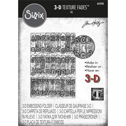 Sizzix 3D Texture Fades Embossing Folder By Tim Holtz Typewriter