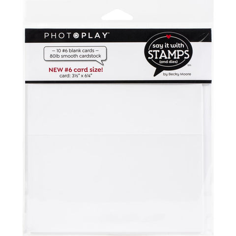 PhotoPlay Say It With Stamps Scored Card 10/Pkg #6 Blank White