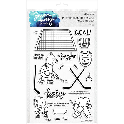 "Simon Hurley create. Cling Stamps 6""X9"" Hockey Buddies"