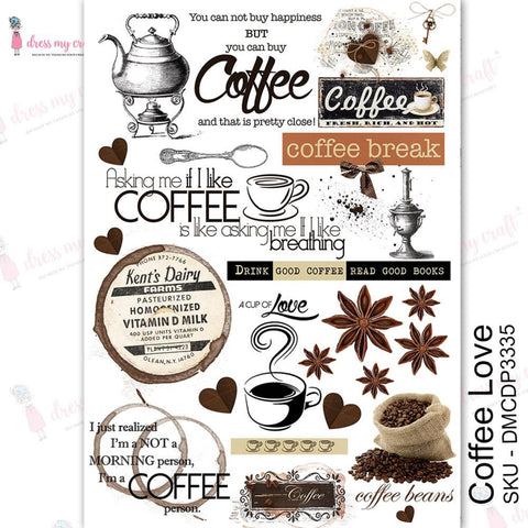 Dress My Craft Transfer Me Sheet A4 Coffee Love