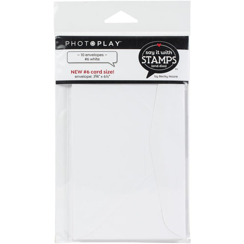 PhotoPlay Say It With Stamps Envelopes 10/Pkg #6 White