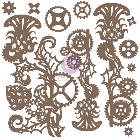 Finnabair Decorative Chipboard Mechanical Thistle, 11/Pkg