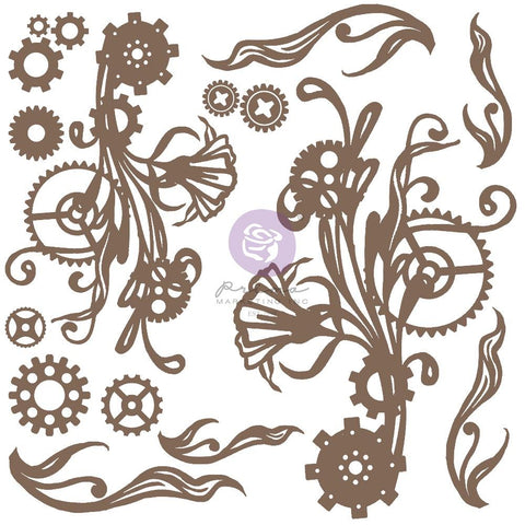 Finnabair Decorative Chipboard Mechanical Flourishes, 16/Pkg