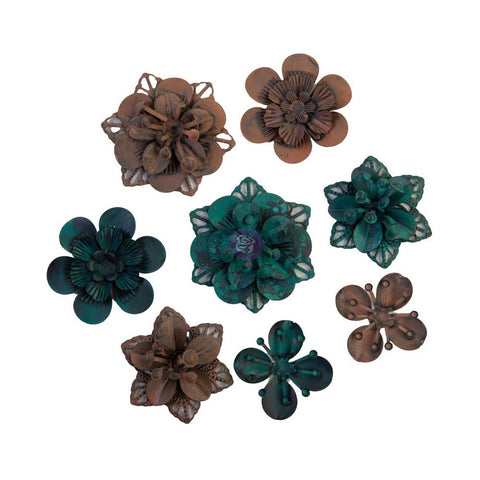 Finnabair Mechanicals Metal Embellishments Grungy Succulents, 8/Pkg