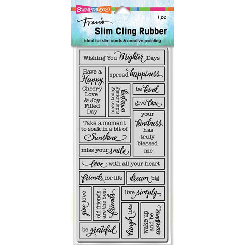 Stampendous Cling Stamp Slim Boxed Words