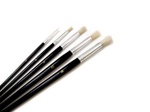 Artist Brush Set #0-#16 Fine Bristle x5 Wood Handle Rounds