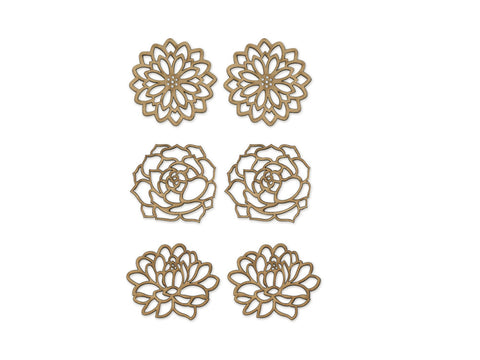 "Floral - 1.5""-2"" Laser-Cut Ornate Wood Shapes 6pc 2mm Thick"
