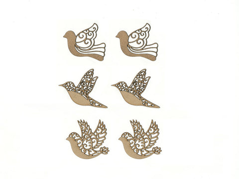 "Birdie - 1.5""-2"" Laser-Cut Ornate Wood Shapes 6pc 2mm Thick"
