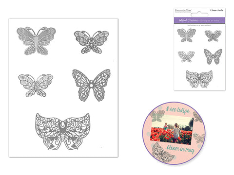 Metal Charms Self-Stick Intricate Designs - Butterfly Elegance