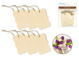 Wooden Tags w/Jute Cord F) Bracket 6pc 4.7cmx7cm