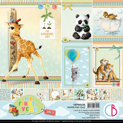"Ciao Bella PAPER PAD 12""X12"" 12/PKG - MY FIRST YEAR VOL.2"