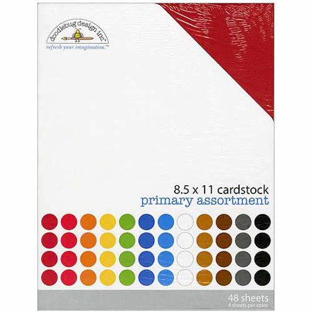 "Doodlebug Textured Cardstock Assortment Pack 8.5""X11"" 48/Pkg Primary"