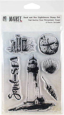 "49 And Market Clear Stamps 4""X6"" Sand & Sea Lighthouse"
