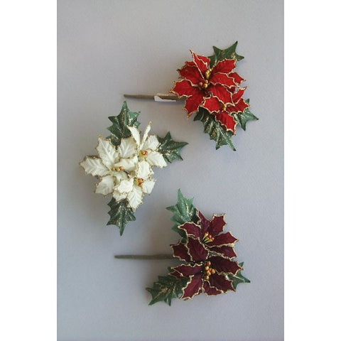 POINSETTIA PICK X3 W/GOLD GLITTER LINING & LEAVES