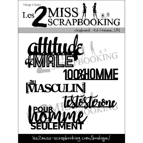 Les 2 miss scrapbooking chipboard Kit homme_un