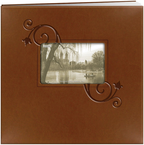 12X12 Embossed Frame Scrapbook, Floral - Brown