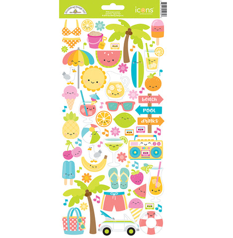 Doodlebug, Sweet Summer Collection - Cardstock Stickers - Icons