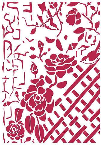 Stamperia  Stencil G 21 x 29.7 cm - Fence With Roses