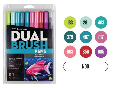 Tombow Dual Brush Pen 10 Color Set, Tropical (10 Pack)