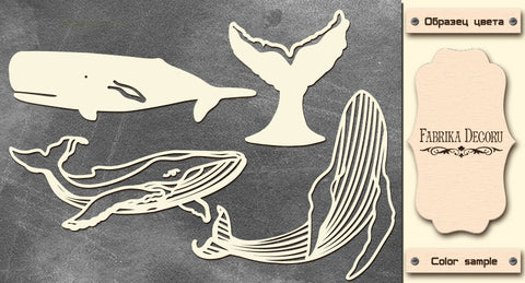 Fabrika Decoru CHIPBOARDS SET WHALES #594