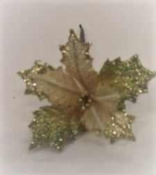 POINSETTIA PICK SMALL W/SHEER LVS GOLD EDGE