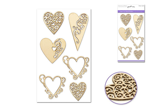 "Forever in Times Laser Cut Wood 4.5""x7.7"" - Hearts"