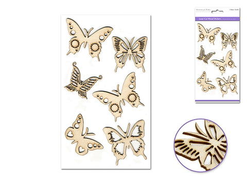 "Forever in Time - Laser Cut Wood 4.5""x7.7"" Butterfly's"