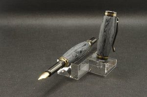 Damascus Fountain Pen Cobalt Gold & Gunmetal