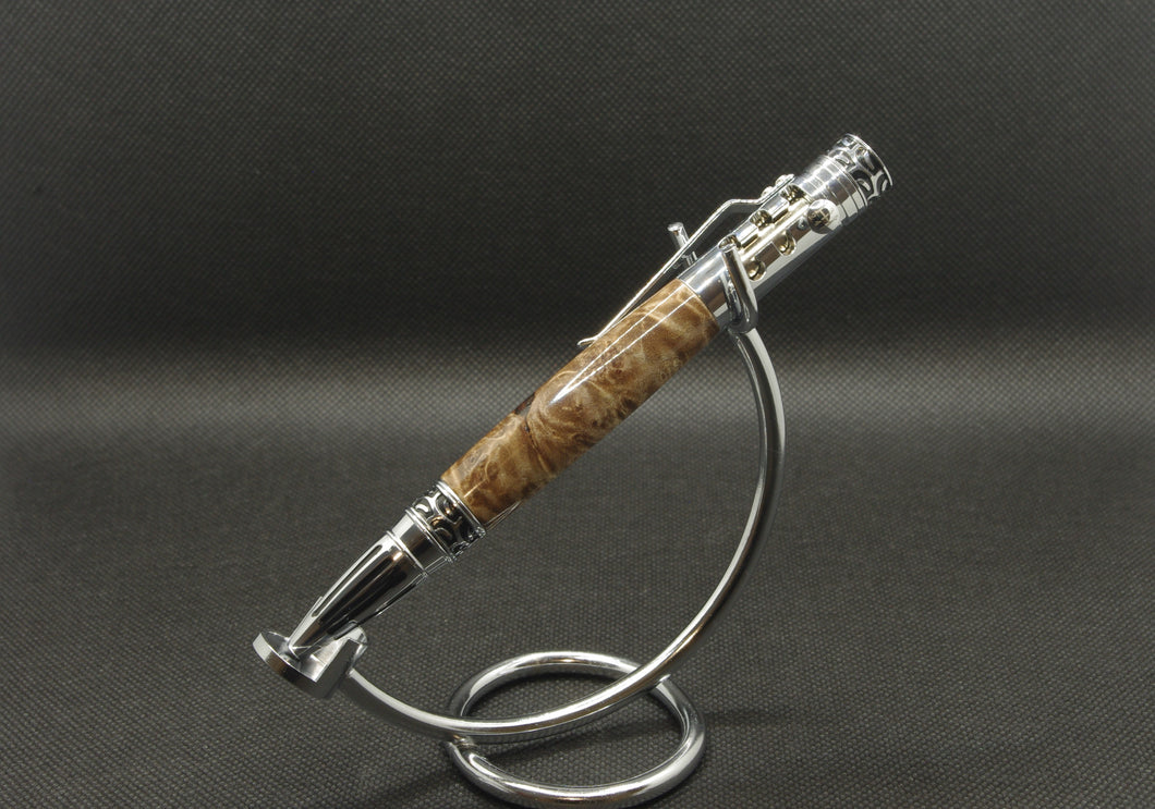 Maple Burl Stick Shift Pen - Chrome