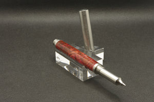 Dyed Box Elder Burl Rollerball Pen - Stainless Steel