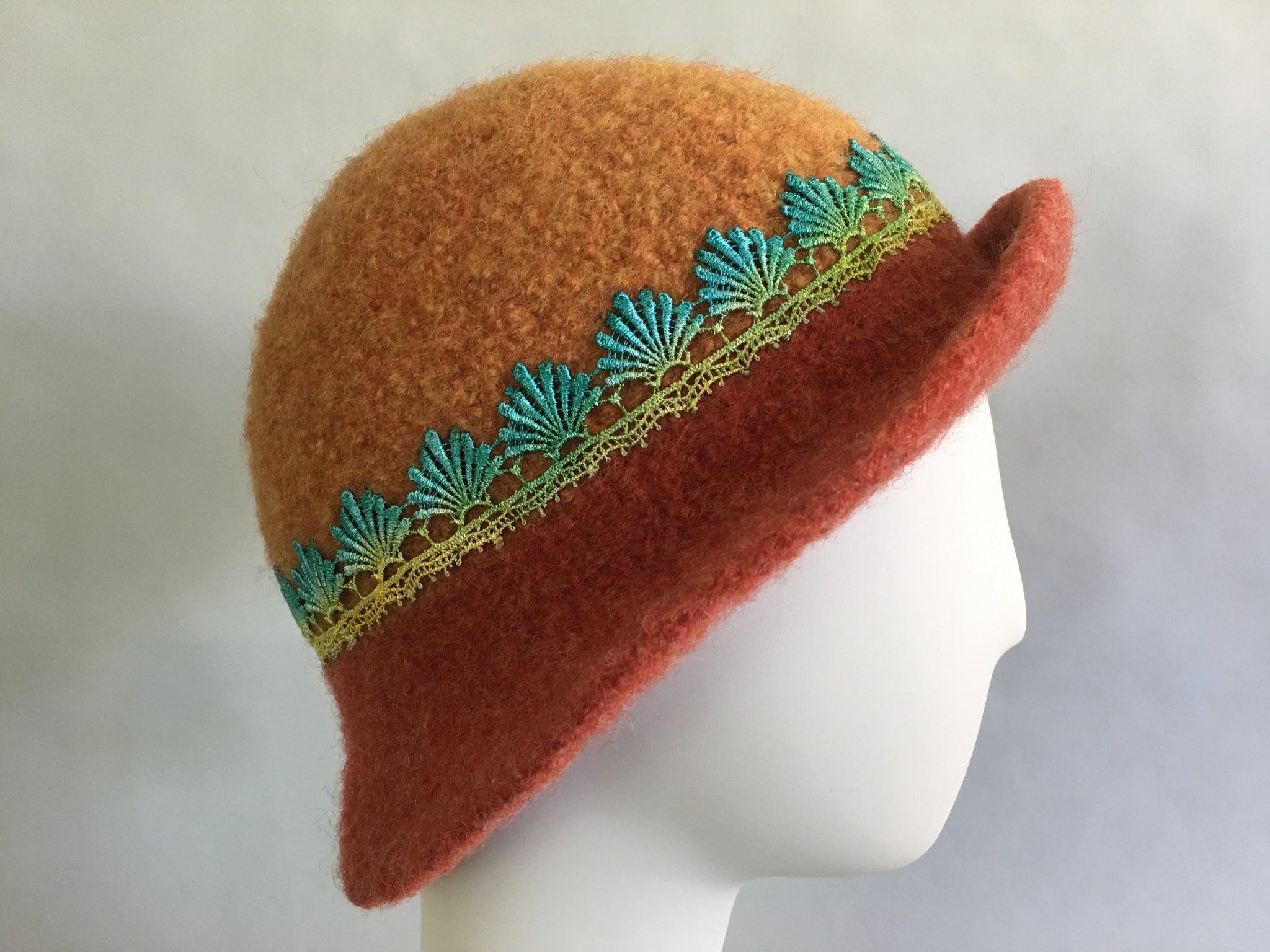 Cloche Hat - Medium - Pumpkin and Rust w/ Lace