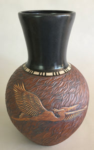 Tall Carved Egret Vase