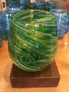 Stemless Wine Glass - Emerald Green