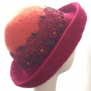 Felted Hat with lace