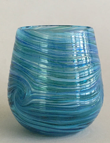 Stemless Wine Glass - Tahoe Blue