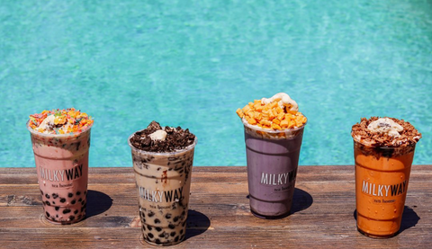 Boba and Ice Cream Cereal Floats at Milkyway Tea House