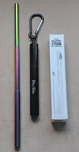 Reusable Straw Set | Telescopic Stainless Steel Straw Set in Rainbow Reusable Straw Set with Case