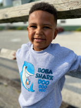 Load image into Gallery viewer, Boba Shark Kids' Crewneck Sweatshirt | Funny Boba Shark Sweatshirt