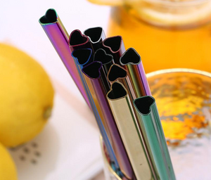 Heart Shaped Reusable Standard Sized Straw in Rainbow