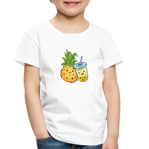 Toddler Pineapple & Boba Tea Shirt | Toddler Boba Shirt - white