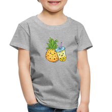 Load image into Gallery viewer, Toddler Pineapple & Boba Tea Shirt | Toddler Boba Shirt - heather gray