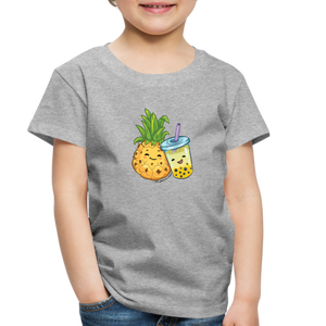 Toddler Pineapple & Boba Tea Shirt | Toddler Boba Shirt - heather gray