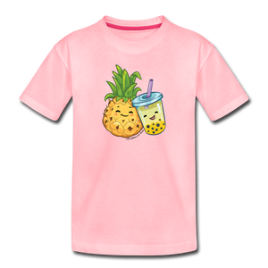 Toddler Pineapple & Boba Tea Shirt | Toddler Boba Shirt - pink