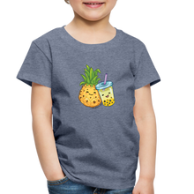 Load image into Gallery viewer, Toddler Pineapple & Boba Tea Shirt | Toddler Boba Shirt - heather blue